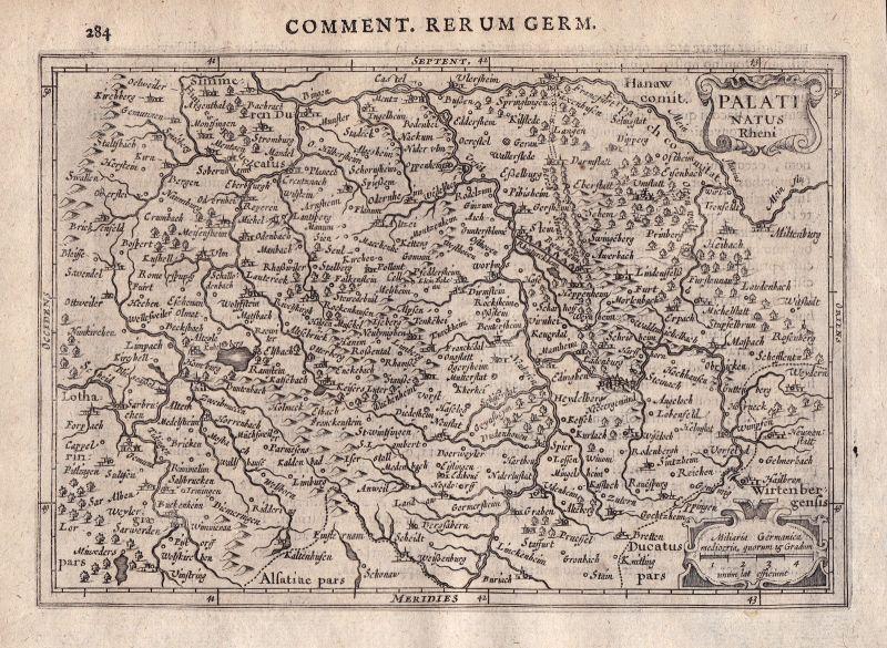 1632 Saarbrücken Kaiserslautern Heilbronn Münster Karte Kupferstich engraving