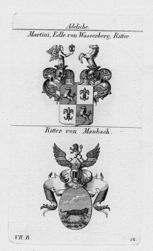 1820 - Martini Wasserberg Maubach Wappen coat of arms heraldry Kupferstich