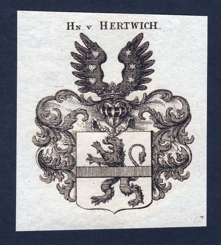 1820 Hertwich Hertwig Wappen Adel coat of arms Heraldik Kupferstich engraving