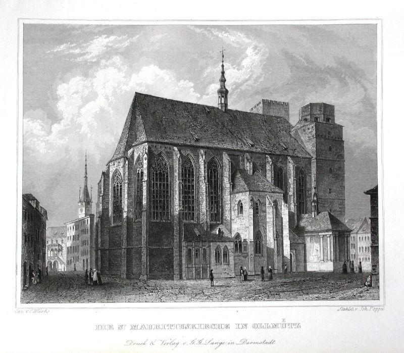 Olmütz St.-Mauritius-Kirche Tschechien Czech gravure Stahlstich Würbs Poppel