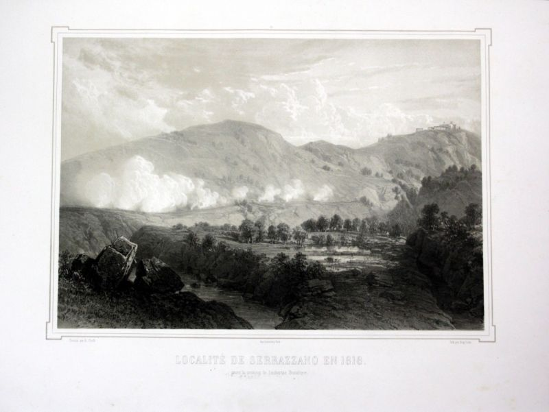 Ca. 1860 Serrazzano Toskana Tuscany Italia Ansicht veduta Lithographie Li 110542