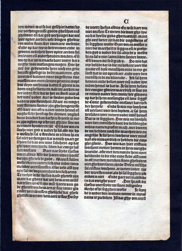 1499 Blatt C Inkunabel Vita Christi Zwolle incunable Dutch Holland