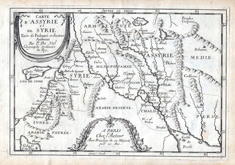 1665 Syria Syrien Cyprus Libanon map Karte Kupferstich antique print Du Val