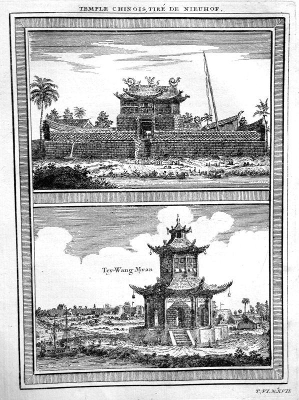 1750 Tai'an Dai Miao China Tempel temple Ansicht view Kupferstich antique print