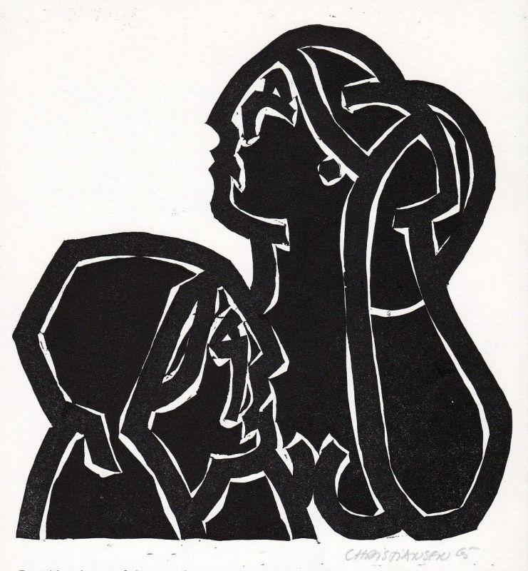 1990 Manfred Christiansen Hugo von Hofmannsthal Linolschnitt signiert