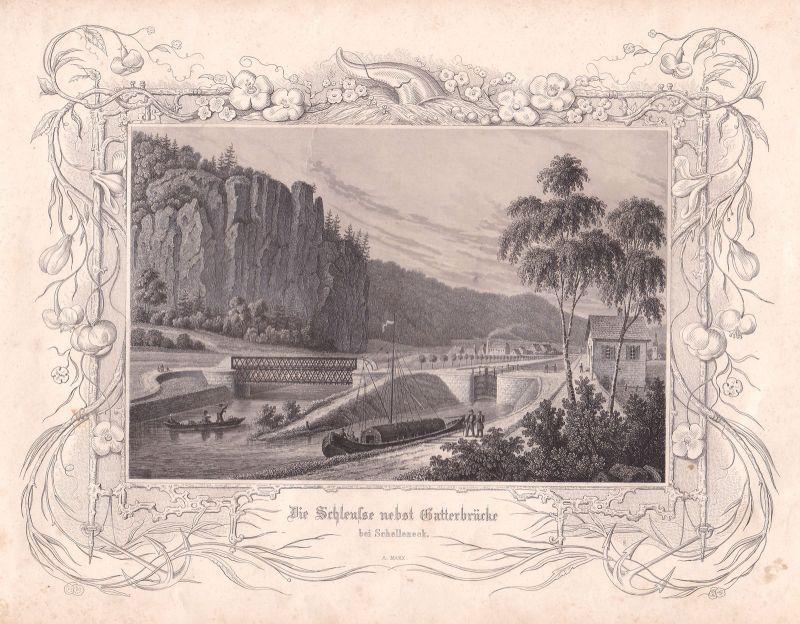 Schelleneck Altmühltalbrücke Brücke Schleuse Marx Stahlstich antique print