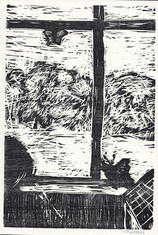 2000 Hanif Lehmann Original-Holzschnitt und Text signiert