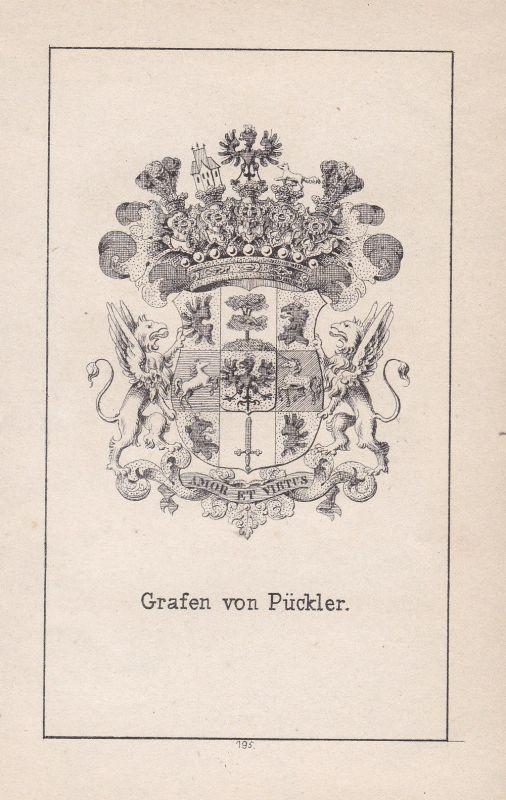 1840 Pückler Silesia Schlesien Wappen heraldry Heraldik coat of arms Adel