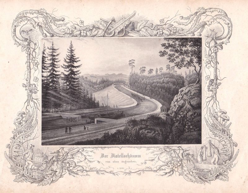 Distellochdamm Ludwig-Donau-Main-Kanal Kanal Marx Stahlstich antique print