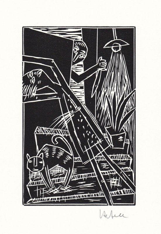 1999 Ignaz Hefele Frank Wedekind Linolschnitt zu einem Gedicht signiert