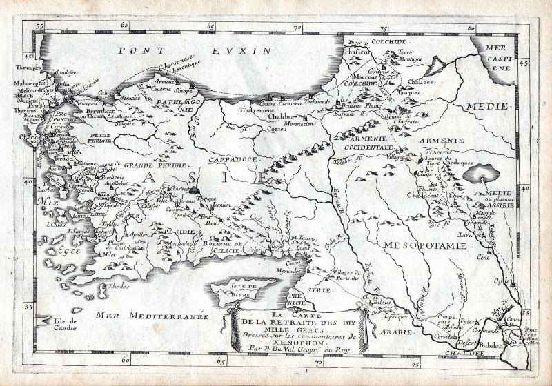 1665 Cyprus Turkey Syria map carte Karte Kupferstich antique print Du Val