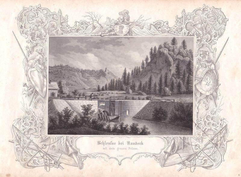 Schleuse Randeck Altmühltal Felsen Burgruine Marx Stahlstich antique print
