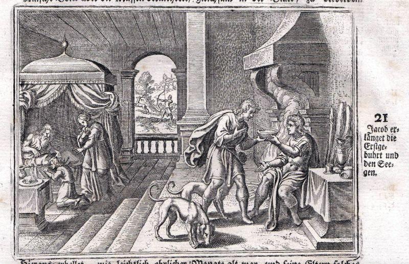 Um 1700 Jakob Jacob Erstgeburt Segen blessing Kupferstich antique print Merian