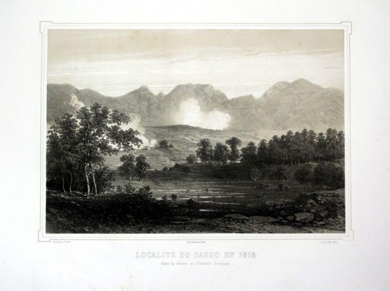 Ca. 1860 Sasso Pisano Toskana Tuscany Italia Italy veduta Lithographie Li 110530