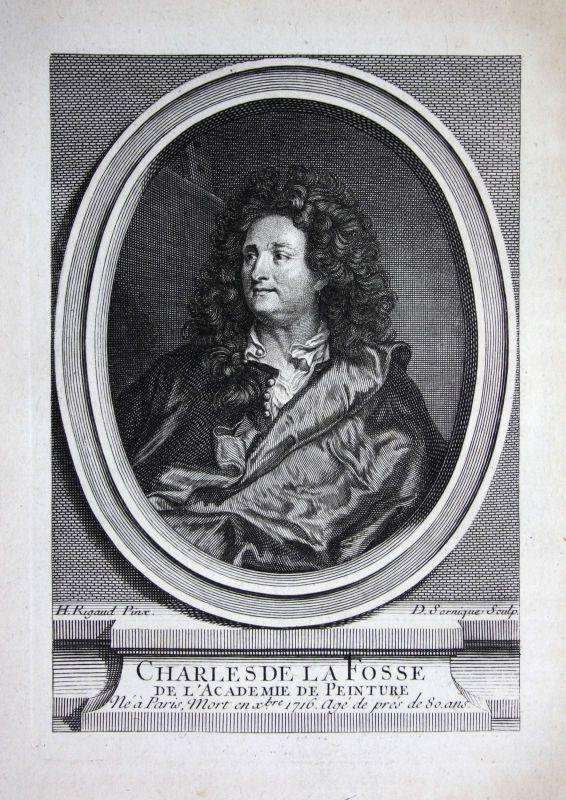 18. Jh. Charles de La Fosse Maler painter Kupferstich Portrait gravure peintre