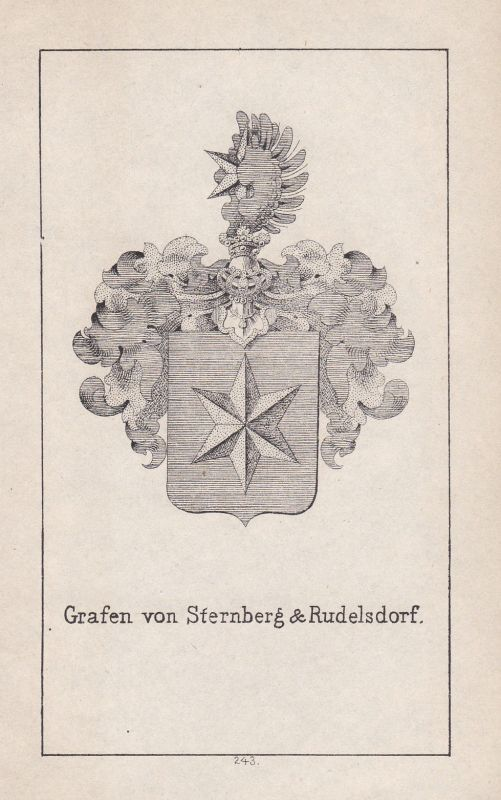 1840 Böhmen Bohemia Sternberg Rudelsdorf Wappen Heraldik coat of arms Adel