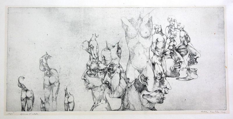 1969 Körper Gesicht Surrealismus Original Radierung signiert Christian Mischke