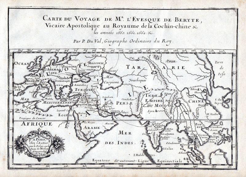 1665 Europe Asia Russia Africa China map Karte Kupferstich antique print Du Val
