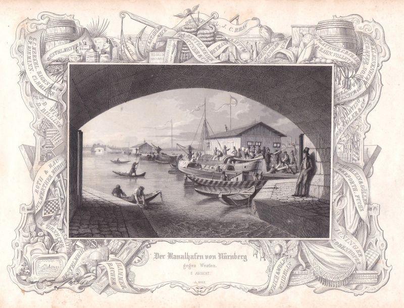 1847 Kanal Hafen Nürnberg Westen Marx Stahlstich antique print