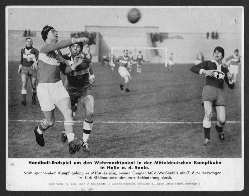Handball Halle an der Saale Sport Wehrmacht Pokal Pressefoto 1938 Serie 1336 aS