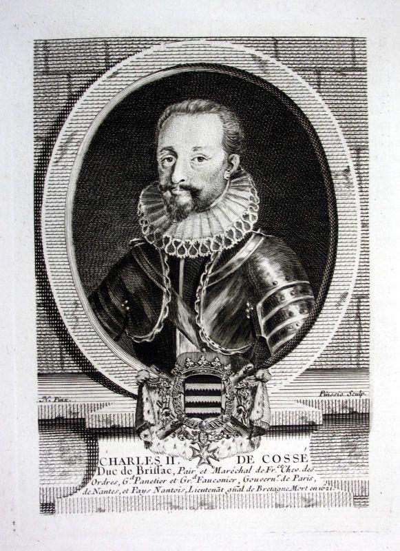 18. Jh. Charles II Cosse duc Brissac duke Kupferstich Portrait engraving gravure