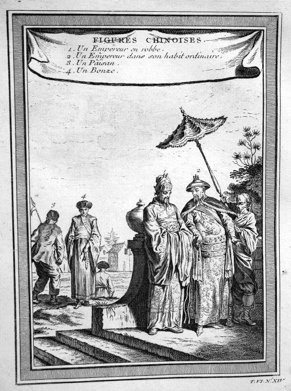 Ca. 1750 China Tracht Trachten costumes Ansicht view Kupferstich antique print