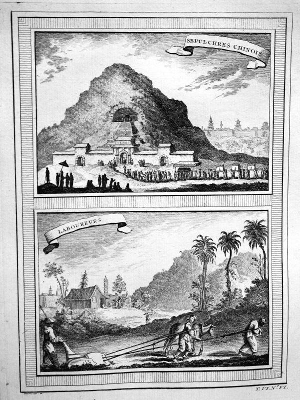 Ca. 1750 Grab tomb China farmer Bauern Ansicht view Kupferstich antique print