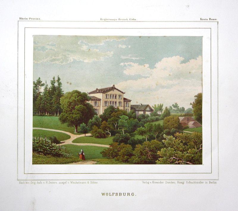 Ca. 1860 Haus Wittgenstein Roisdorf Bornheim Ansicht view Lithographie Duncker