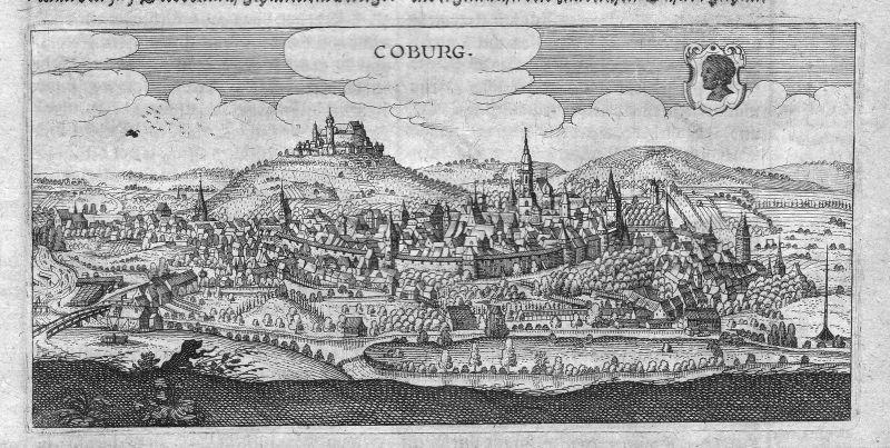 1632 Coburg Ilz Gesamtansicht Ansicht view Kupferstich antique print Hulsius