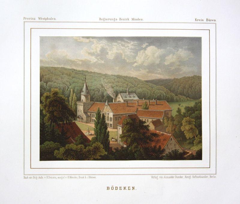 Ca. 1860 Böddeken Büren Paderborn Kloster Ansicht view Lithographie Duncker