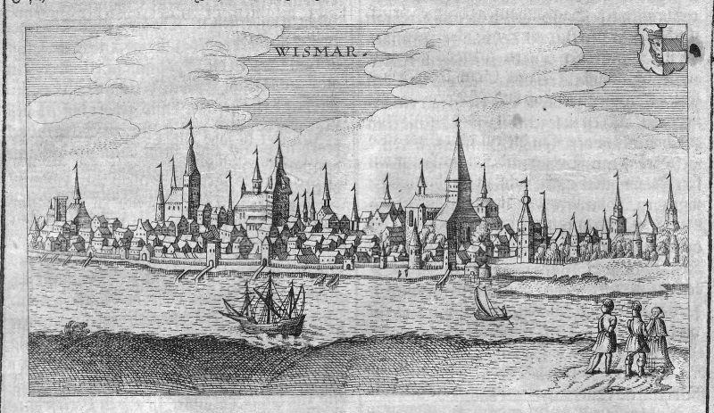 1632 Wismar Ostsee Ansicht view Kupferstich antique print Hulsius Gesamtansicht
