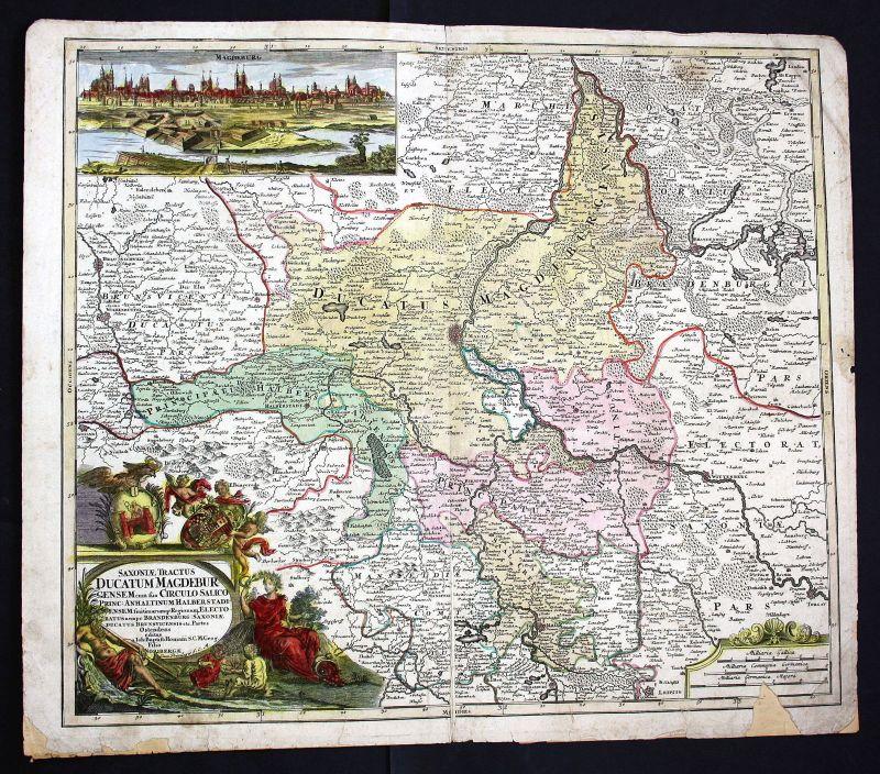1750 Braunschweig Wolfsburg Magdeburg Leipzig Elbe Karte map Kupferstich Homann