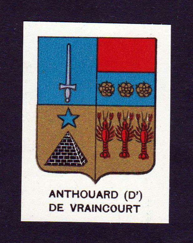 Ca. 1880 Anthouard de Vraincourt Wappen Adel coat of arms heraldry Lithographie