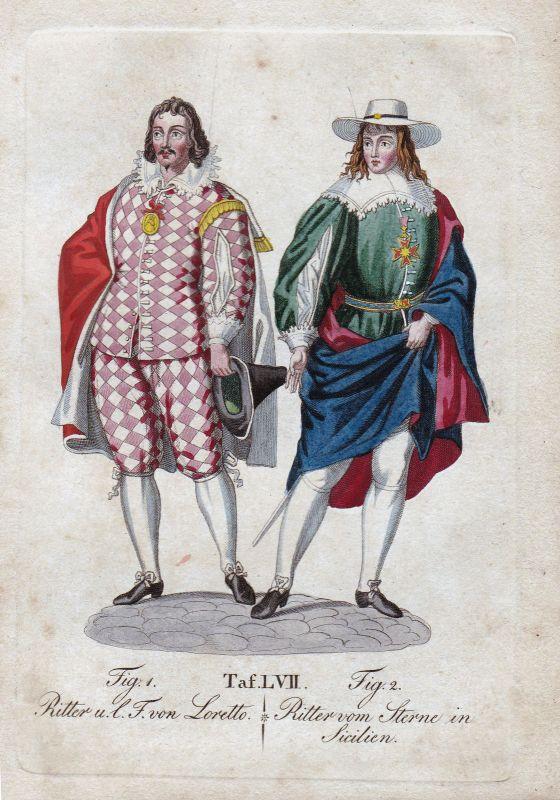 Ritter Loretto Österreich Austria / Sterne Sizilien Sicilia Orden Kupferstich