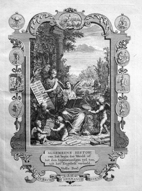 1740 Titelblatt Titel title Greece page Kupferstich antique print Philips