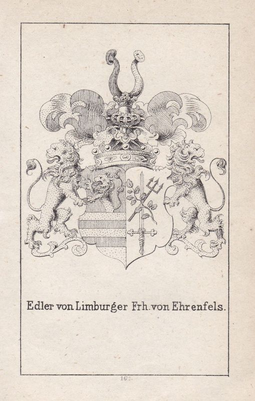 Ca. 1840 Limburg Ehrenfels Wappen heraldry Heraldik coat of arms Adel