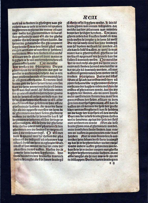1499 Blatt XCII Inkunabel Vita Christi Zwolle incunable Dutch Holland