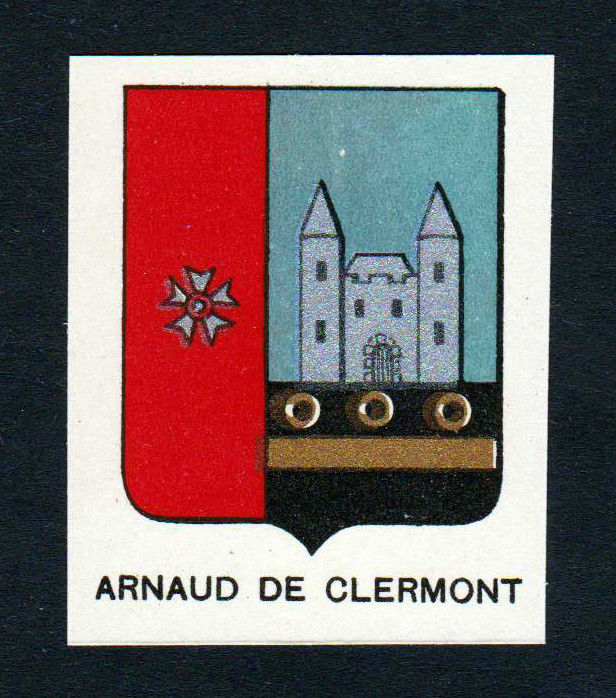 Ca. 1880 Arnaud de Clermont Wappen Adel coat of arms heraldry Lithographie print