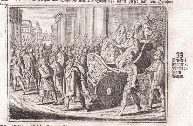 Um 1700 Sesostris Könige king Ägypten Egypt Kupferstich antique print Merian