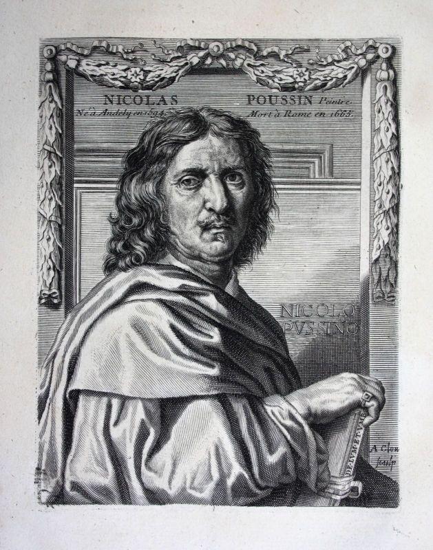 18. Jh. Nicolas Poussin painter Maler peintre Kupferstich Portrait gravure