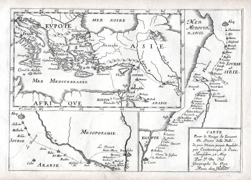 1665 Europe Asia Africa map carte Karte Kupferstich antique print Du Val
