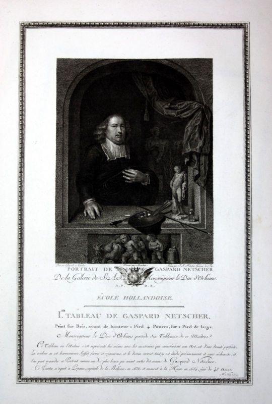 1786 Caspar Netscher Portrait Selbstportait Kupferstich antique print Klauber