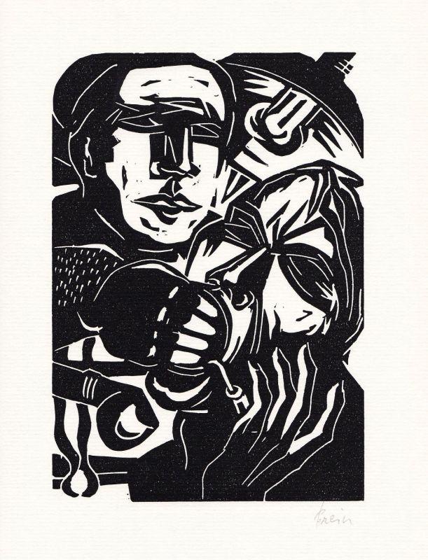 1974 Jan Prein Barthold Heinrich Brockes Linolschnitt zu einem Gedicht signiert