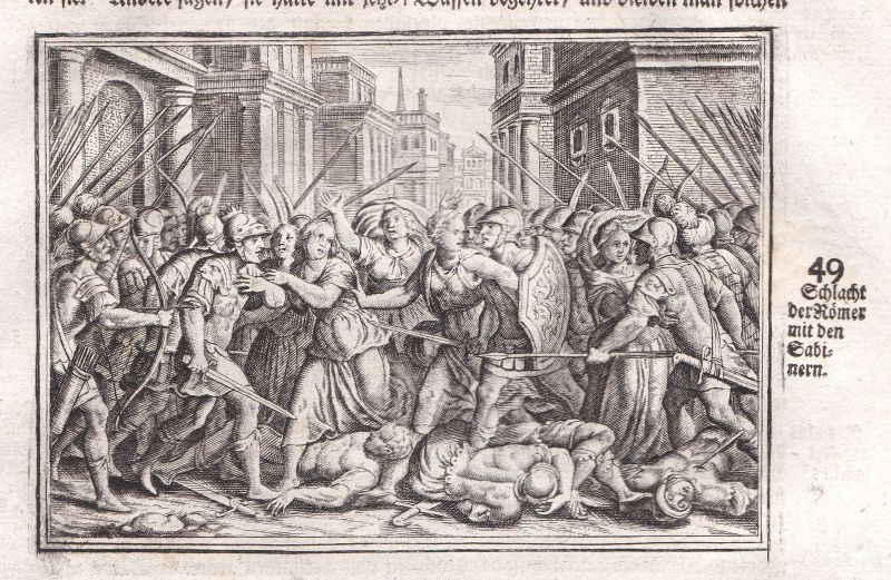Um 1700 Sabiner Sabines Römer Romans Schlacht battle Kupferstich antique Merian