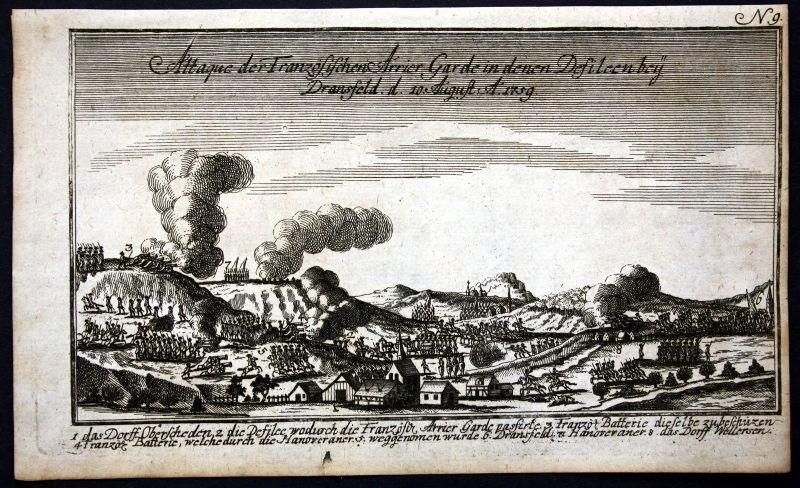 Ca. 1760 Dransfeld Schlacht battle Siebenjähriger Krieg Kupferstich engraving