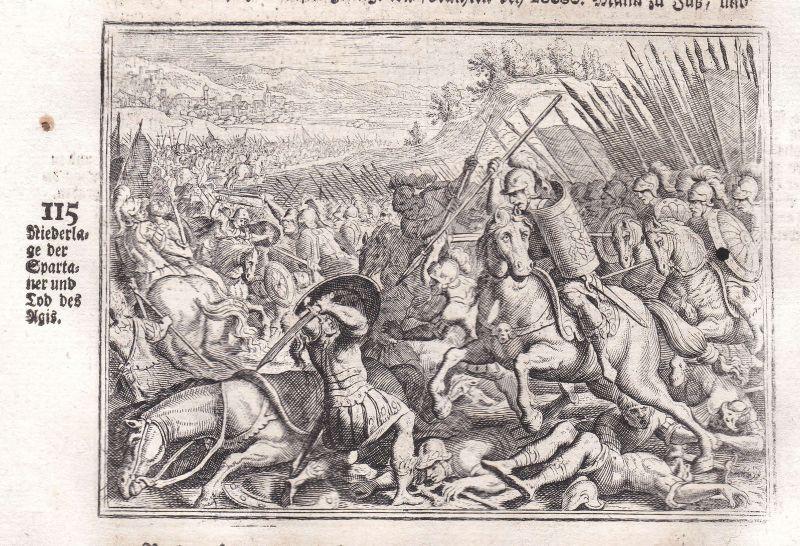Ca. 1700 Agis Sparta Schlacht battle Kupferstich antique print Merian