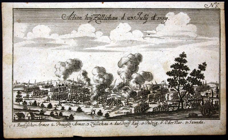 Ca. 1760 Züllichau Sulechow Polen Polska Schlacht battle Kupferstich engraving