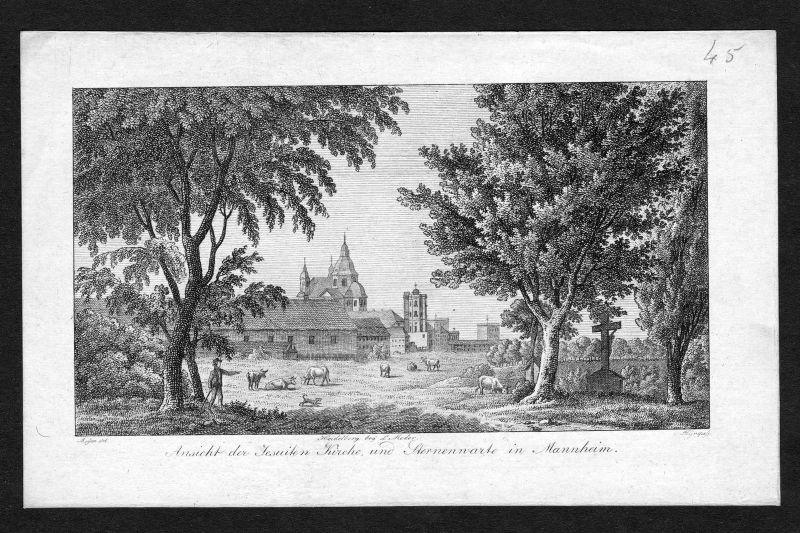 Um 1820 Mannheim Jesuitenkirche Sternwarte Kupferstich antique print Grape