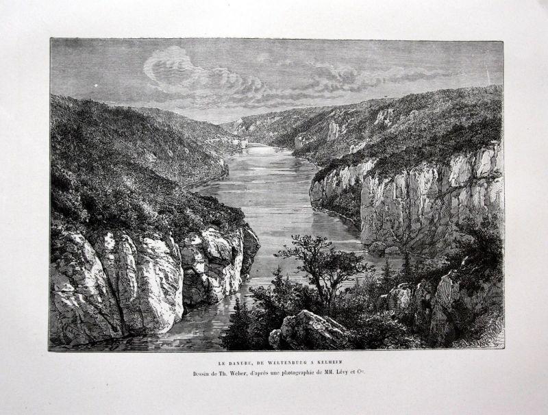Ca. 1870 Donau Kelheim Weltenburg Danube Ansicht Holzstich antique print