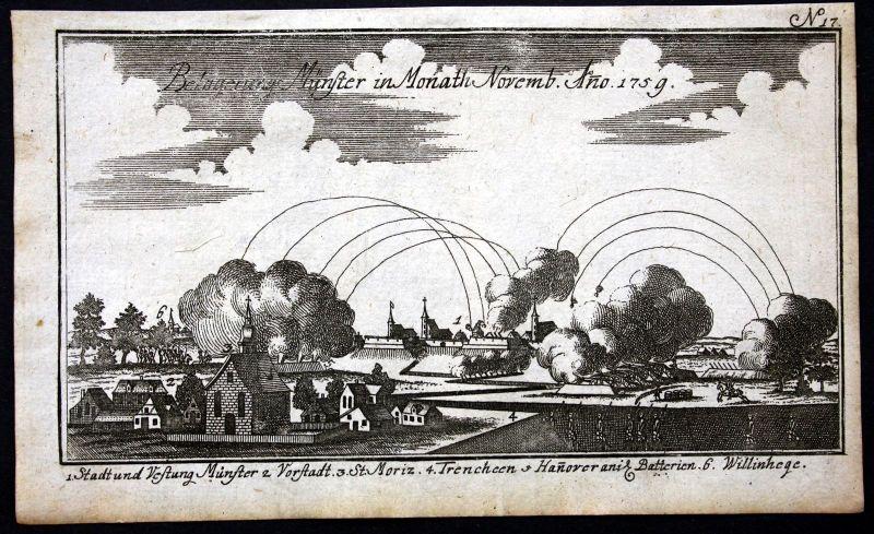 Ca. 1760 Münster Schlacht Siebenjähriger Krieg Kupferstich engraving battle war